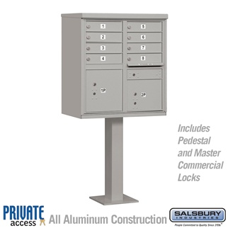 Salsbury 3308GRY-P 8 Door Cluster Mailbox Gray - Private Access