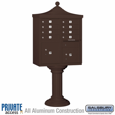 Salsbury 3308R-BRZ-P 8 Door Regency Decorative Cluster Mailbox Bronze - Private Access