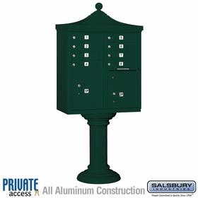 Salsbury 3308R-GRN-P 8 Door Regency Decorative Cluster Mailbox Green - Private Access