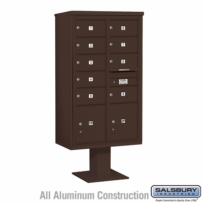 Salsbury 3415D-09BRZ 9 Door 4C Pedestal Mailbox - Bronze with Parcel Locker