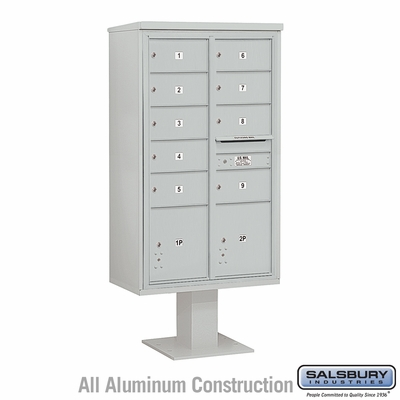 Salsbury 3415D-09GRY 9 Door 4C Pedestal Mailbox - Gray with Parcel Locker
