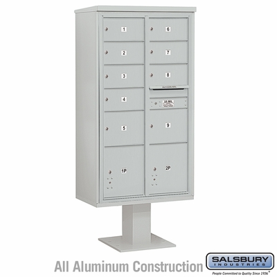 Salsbury 3416D-09GRY 9 Door 4C Pedestal Mailbox - Gray - Double Column with Parcel Locker