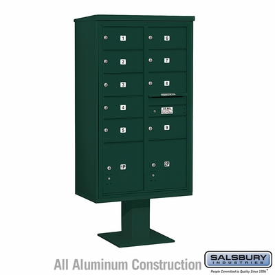 Salsbury 3415D-09GRN 9 Door 4C Pedestal Mailbox - Green with Parcel Locker