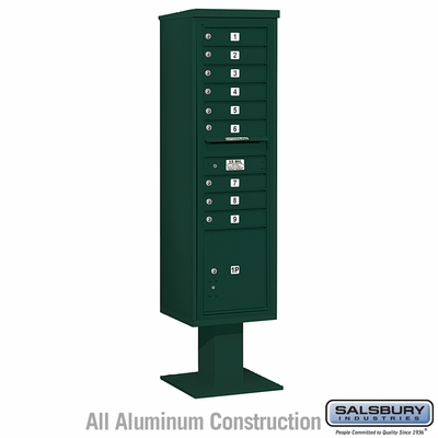 Salsbury 3416S-09GRN 9 Door 4C Pedestal Mailbox Green Single Column with Parcel Locker