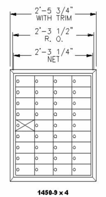 """9 Doors High x 4 Doors Wide (35 Tenants) (3"""" H x 6 3/8"""" W) 1450 Series Mailbox Front-Load Private Mailbox"""