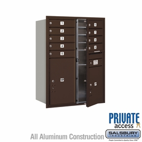 9 Tenant Door 4C Mailbox - Bronze - Front Loading - Private Access - Double Column