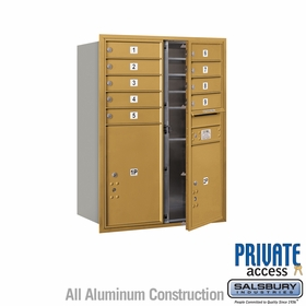 9 Tenant Door 4C Mailbox - Gold - Front Loading - Private Access - Double Column