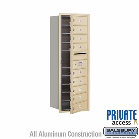 9 Tenant Door 4C Mailbox - Sandstone - Front Loading - Private Access - Single Column