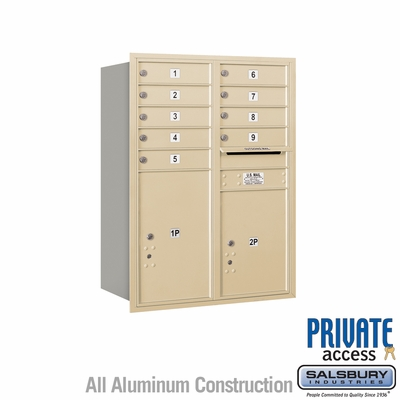 Salsbury 3711D-09SRP 4C Mailboxes 9 Tenant Doors Rear Loading