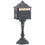Amco Colonial Pedestal Mailbox in Black