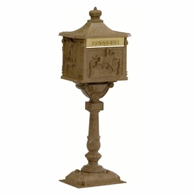 Amco Victorian Pedestal Locking Mailbox in Antique Moccasin