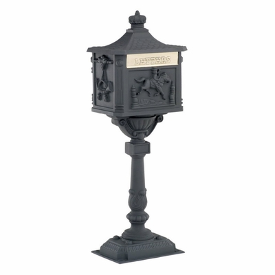 Amco Victorian Pedestal Locking Mailbox in Black