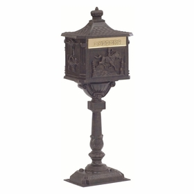 Amco Victorian Pedestal Locking Mailbox in Bronze