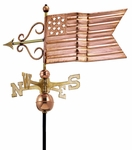 American Flag Weathervane - Polished Copper