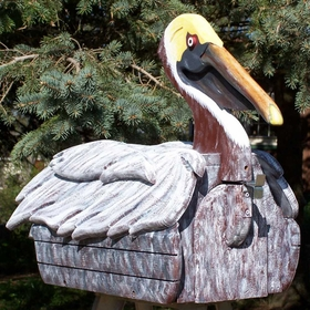 ANIMALS - Pelican (Brown) Woodendippity Mailbox