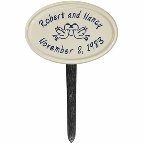 Whitehall Anniversary Heart Birds Ceramic Oval - Petite Lawn Address Sign - Two Line