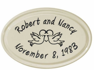 Whitehall Anniversary Heart Birds Ceramic Oval - Petite Wall Plaque - Two Line - Black