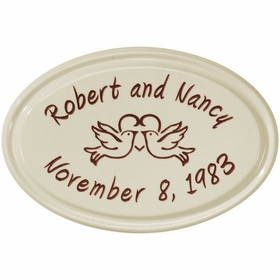 Whitehall Anniversary Heart Birds Ceramic Oval - Petite Wall Plaque - Two Line