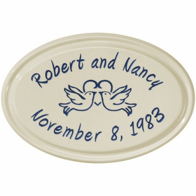Whitehall Anniversary Heart Birds Ceramic Oval - Petite Wall Plaque - Two Line - Dark Blue