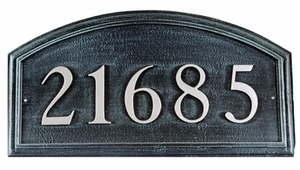 "Arch Cast Aluminum Address Plaque with Raised Letters (19"" x 10"")"