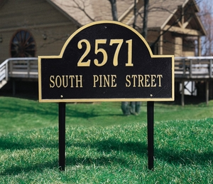 Whitehall Arch Marker Estate Two Line Lawn Address Sign