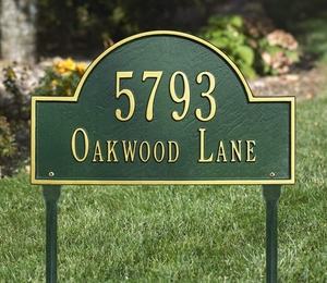 Whitehall Arch Marker Standard Two Line Lawn Address Sign