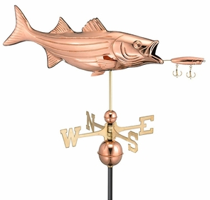 Bass and Lure Weathervane - Polished Copper