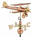 Biplane Weathervane - Polished Copper