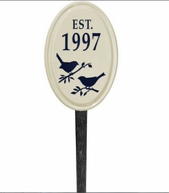 Whitehall Bird Silhouette Ceramic Oval - Petite Vertical Lawn Address Sign - One Line