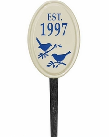 Whitehall Bird Silhouette Ceramic Oval - Petite Vertical Lawn Address Sign - One Line - Dark Blue