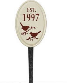 Whitehall Bird Silhouette Ceramic Oval - Petite Vertical Lawn Address Sign - One Line - Red