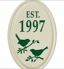 Whitehall Bird Silhouette Ceramic Oval - Petite Vertical One Line Wall Plaque - Green