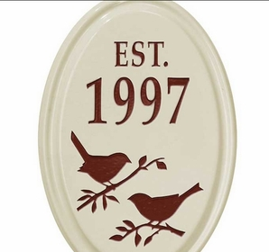 Whitehall Bird Silhouette Ceramic Oval - Petite Vertical One Line Wall Plaque