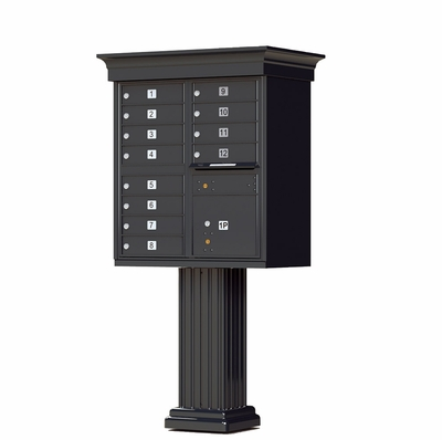 Black Cluster Box Unit with Crown Cap and Pillar Pedestal accessories - 12 compartments