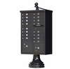 Black Cluster Box Unit with Finial Cap and Traditional Pedestal accessories - 16 compartment