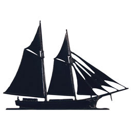 Whitehall Black Schooner Mailbox Ornament