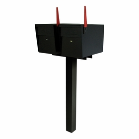 Ultimate High Security Locking Double Mailbox Package - Black