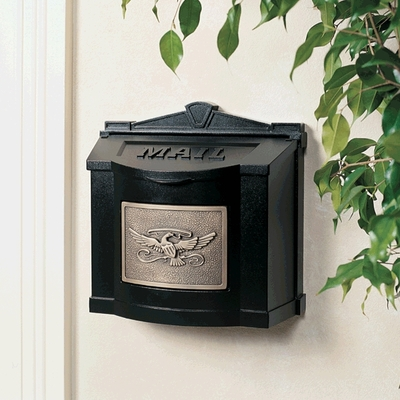 Black Wall Mount Mailbox With Antique Bronze Eagle Emblem
