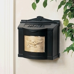 Black Wall Mount Mailbox with Polished Brass Eagle Emblem