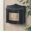 Black Wall Mount Mailbox with Polished Brass Leaf Emblem