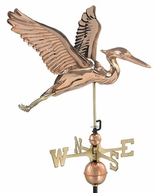 Blue Heron Weathervane - Polished Copper