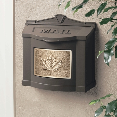 Bronze Wall Mount Mailbox with Polished Brass Leaf Emblem