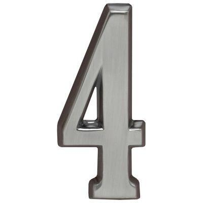 "Whitehall Brushed Nickel 5"" House Address Numbers Number ""4"""