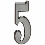 "Brushed Nickel 5"" House Address Numbers Number ""5"""
