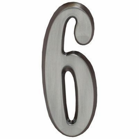 "Whitehall Brushed Nickel 5"" House Address Numbers Number ""6"""