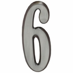 "Brushed Nickel 5"" House Address Numbers Number ""6"""