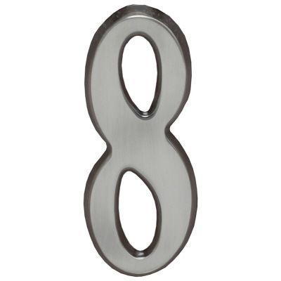 "Whitehall Brushed Nickel 5"" House Address Numbers Number ""8"""