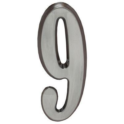 "Whitehall Brushed Nickel 5"" House Address Numbers Number ""9"""