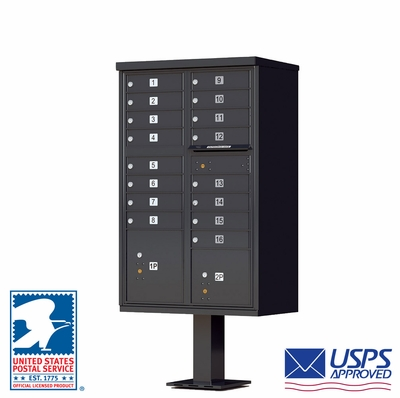 16 Door CBU Mailbox - Black