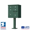 4 Door CBU Mailboxes with Extra Large Tenant Doors Green